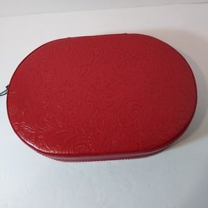Red Leather Jewelry Oval Box